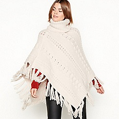 RJR.John Rocha - Cream cable knit roll neck poncho