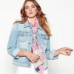 RJR.John Rocha - Pink watercolour 'Bouquet' silk scarf