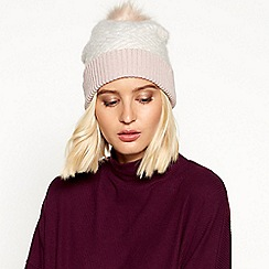 RJR.John Rocha - Light pink chevron knit pom pom hat