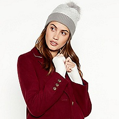 RJR.John Rocha - Light grey chevron knit pom pom hat