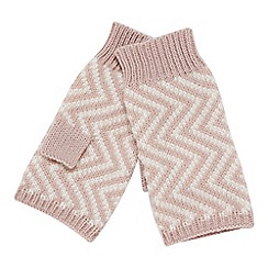 RJR.John Rocha - Light pink chevron knit fingerless mittens