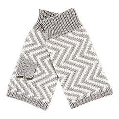 RJR.John Rocha - Light grey chevron knit fingerless mittens