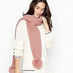 RJR.John Rocha - Pink ribbed knit pom pom scarf