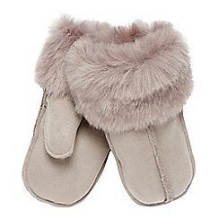 RJR.John Rocha - Grey faux sheepskin mitten gloves
