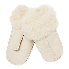 RJR.John Rocha - Cream faux sheepskin mitten gloves