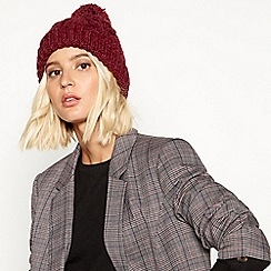 RJR.John Rocha - Dark red cable knit pom pom hat