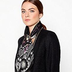 Star by Julien Macdonald - Dark purple 'Rock & Roll' floral print silk scarf