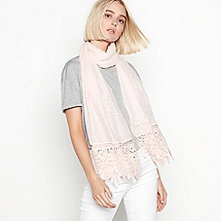 Mantaray - Light pink diamante lace 'Hotfix' scarf