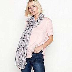 Mantaray - Ivory brushstroke foil print scarf