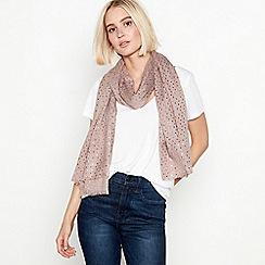 Mantaray - Taupe foil dash print scarf