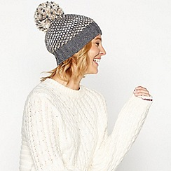 Mantaray - Grey sparkle knit pom pom hat