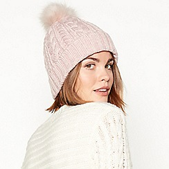 1fa528e81ed Mantaray - Light pink cable knit pom pom hat