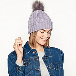 Mantaray - Lilac cable knit pom pom hat