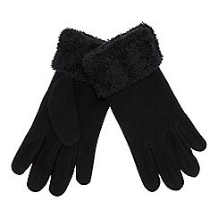 Mantaray - Black fleece faux-fur cuff gloves