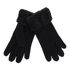 Mantaray - Black fleece faux-fur cuff gloves