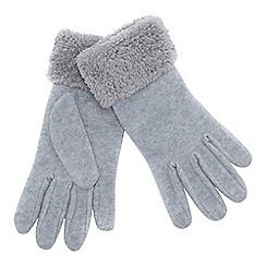 Mantaray - Grey fleece borg cuff gloves
