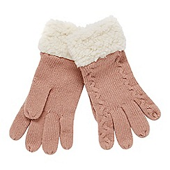Mantaray - Pink cable knit borg gloves