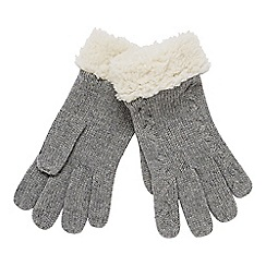 Mantaray - Grey cable knit borg gloves