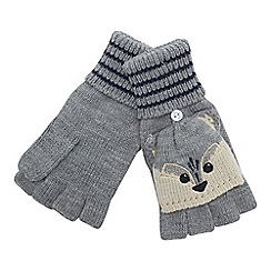 Mantaray - Grey hooded raccoon fingerless gloves