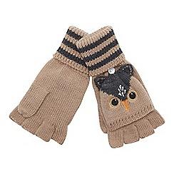 Mantaray - Natural hooded owl fingerless gloves