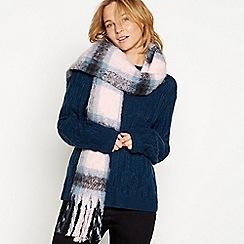 Mantaray - Pink check print brushed woven scarf