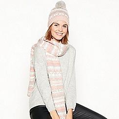 Mantaray - Grey Fair Isle knitted pom pom hat and scarf set