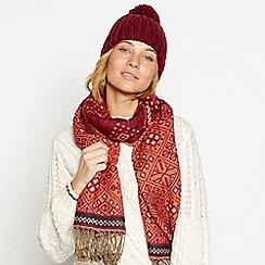 Mantaray - Dark red boho woven scarf