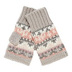 Mantaray - Light pink Fair Isle knit hand warmer glove