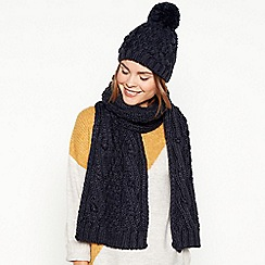 Mantaray - Navy chunky cable knit bobble hat and scarf set 4fdee9947a8