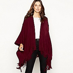 Principles - Dark red cable knit fringed wrap