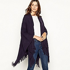 Principles - Navy cable knit fringed wrap