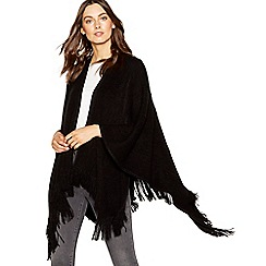 Principles - Black cable knit fringed wrap