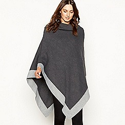 Principles - Grey colour block high neck poncho