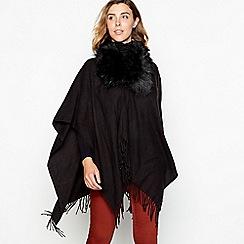 Principles - Black fur collar woven wrap