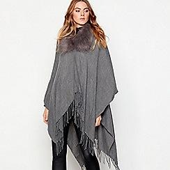 Principles - Grey fur collar woven wrap