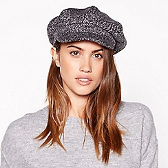 Principles - Dark grey textured woven baker boy hat