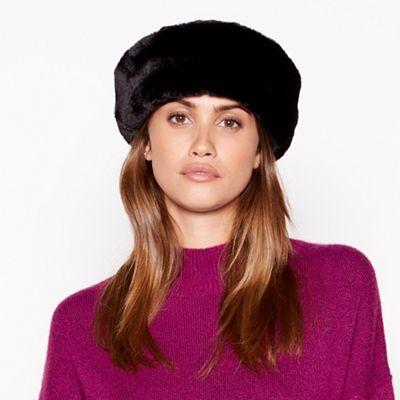 3ff3cfd66163c Principles - Black quilted fur trim cossack hat