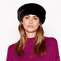 Principles - Black quilted fur trim cossack hat
