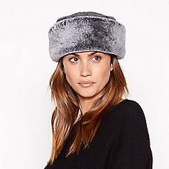 Principles - Grey quilted fur trim cossack hat