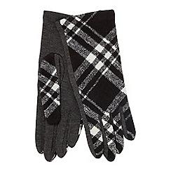 Principles - Black heritage check wool blend gloves
