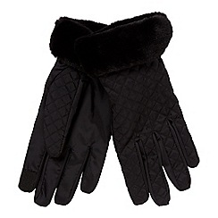 Principles - Black quilted faux fur lined gloves