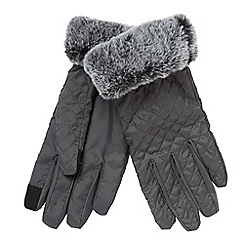 Principles - Grey quilted faux fur lined gloves