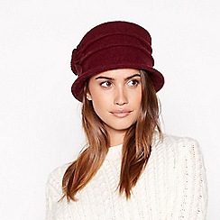 Principles - Wine red appliqué flower cloche wool hat