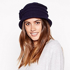 Principles - Navy appliqué flower cloche wool hat