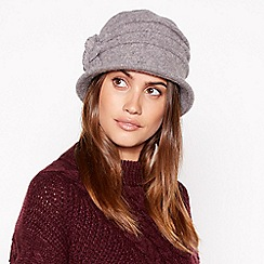 Principles - Grey appliqu flower cloche wool hat 9cfacb224e