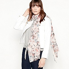 Mantaray - Pale pink butterfly floral print scarf