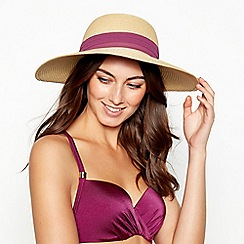 The Collection - Natural Purple Bow Straw Hat
