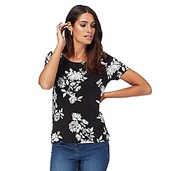 The Collection - Black floral print dipped hem top