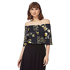 The Collection - Navy floral print patch gypsy top