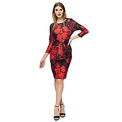 The Collection - Multi-coloured floral print plus size knee length dress